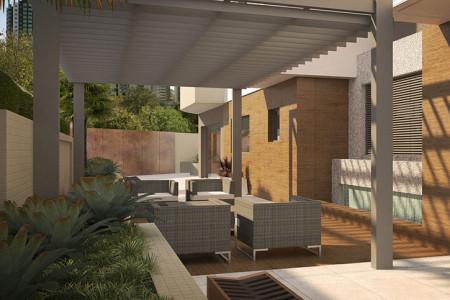 Deck lounge externo integrado ao salão de festas